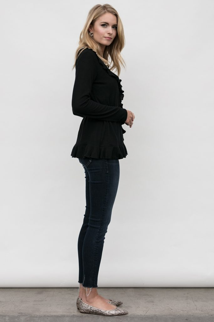 side view of wrap cardigan, Grace Wrap in Obsidian