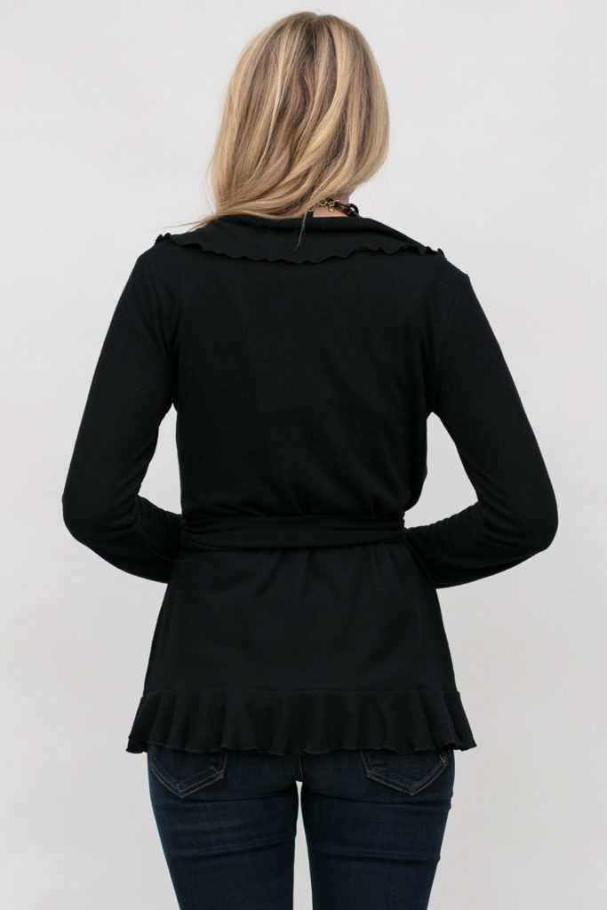 rear view of wrap cardigan, Grace Wrap in Obsidian
