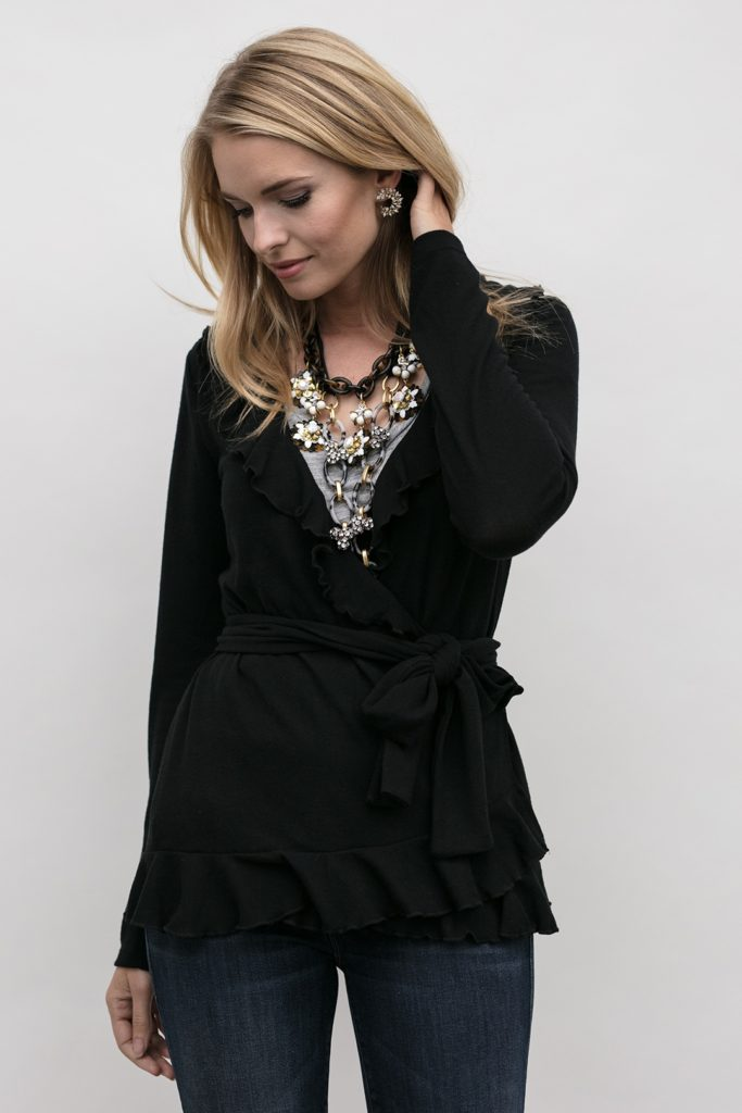 second full view of wrap cardigan, Grace Wrap in Obsidian