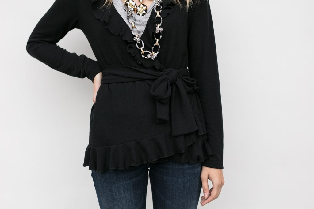 view showing tie security on the wrap cardigan, Grace Wrap in Obsidian