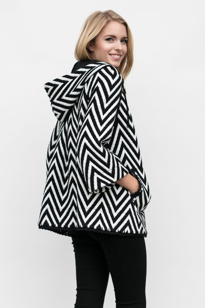 rear view on the chevron knit hoodie, the Lucy
