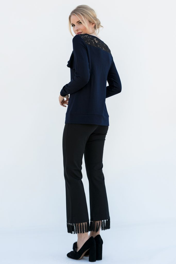 rear view of classy popover shirt, the Maggie in Ink