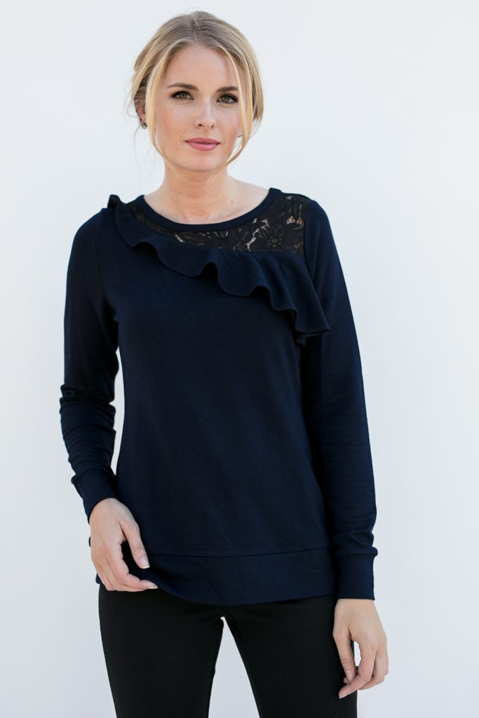 asymmetrical side ruffle on a classy popover shirt, the Maggie in Ink