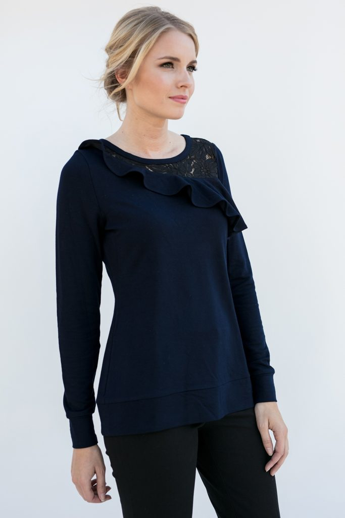 close side view of a classy popover shirt, the Maggie in Ink