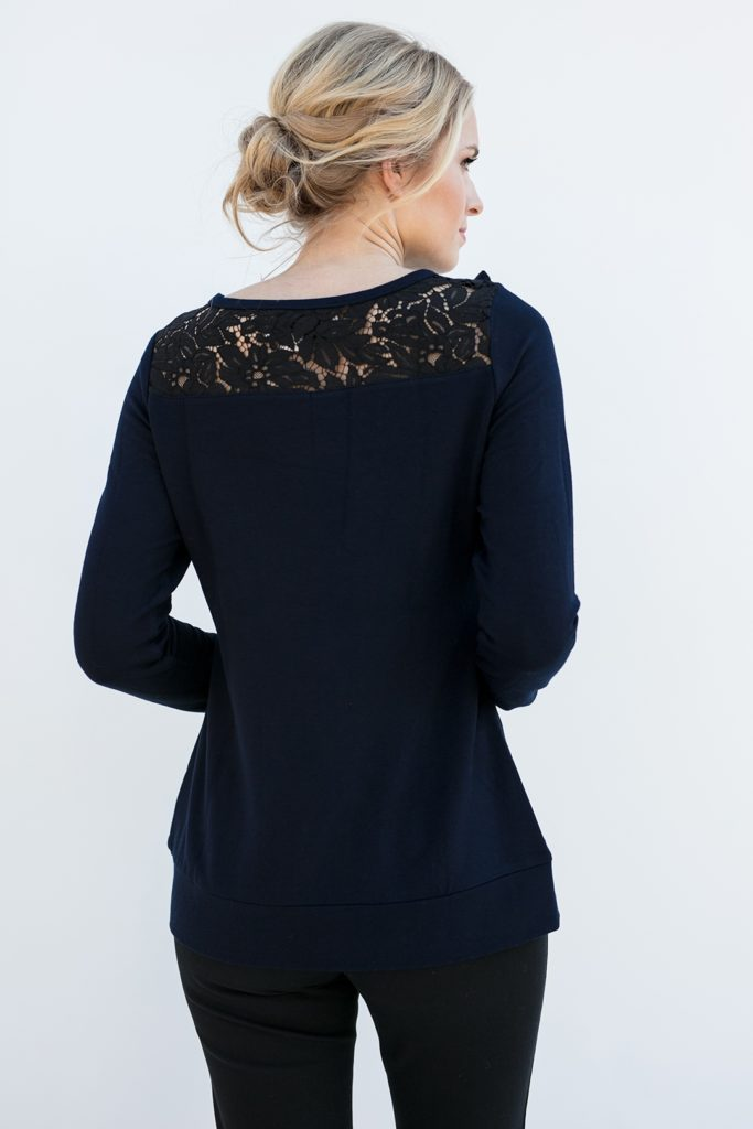 lace shoulders of a classy popover shirt, the Maggie in Ink