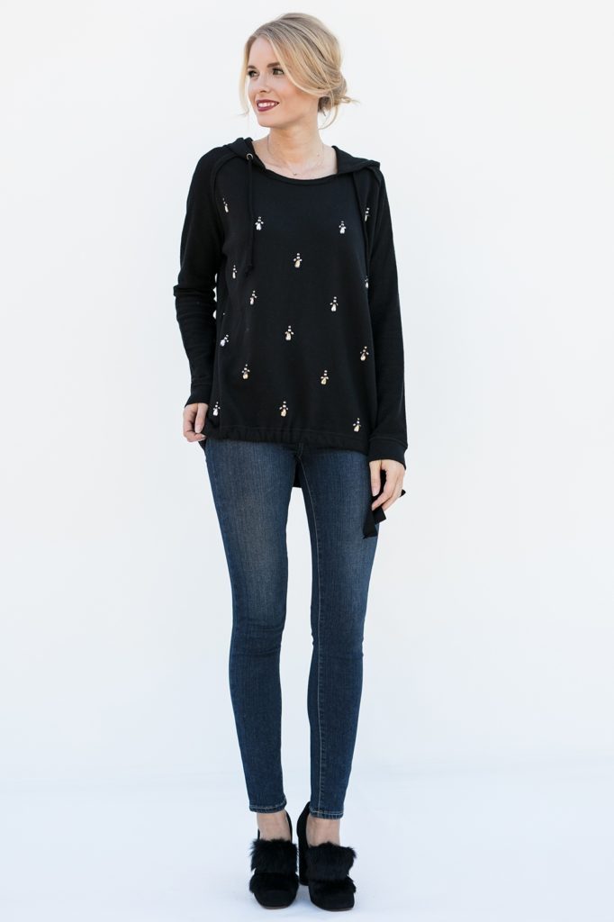 Head to toe view of crystal embellished pullover, Wallis in Black Sparkle