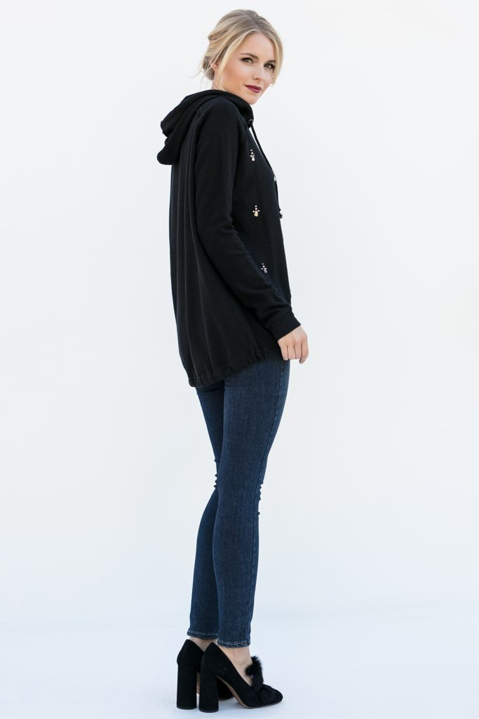 side view of crystal embellished pullover, Wallis in Black Sparkle
