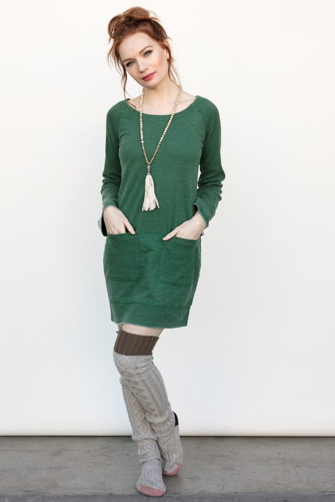 Brooke Tunic in Juniper from front with over-the-knee socks